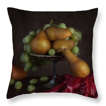 Grapes And Pears Centerpiece Throw Pillow by Tom Mc Nemar
