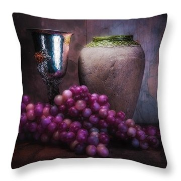 Grapes And Silver Goblet Throw Pillow by Tom Mc Nemar