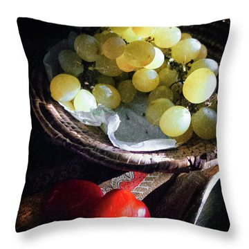 Throw Pillow featuring the photograph Grapes And Tomatoes by Silvia Ganora