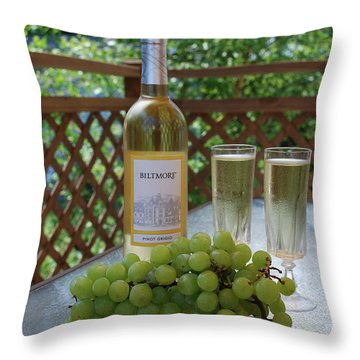 Grapes And Wine Throw Pillow by Gordon Mooneyhan