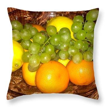 Grapes, Lemons, Mandarins And Lime  Throw Pillow
