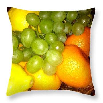 Grapes, Mandarins, Lemons Throw Pillow