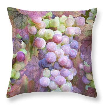 Throw Pillow featuring the mixed media Grapes Of Many Colors by Carol Cavalaris