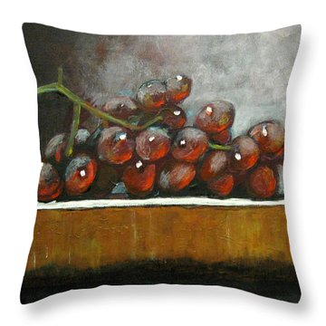 Grapes On A Block Throw Pillow