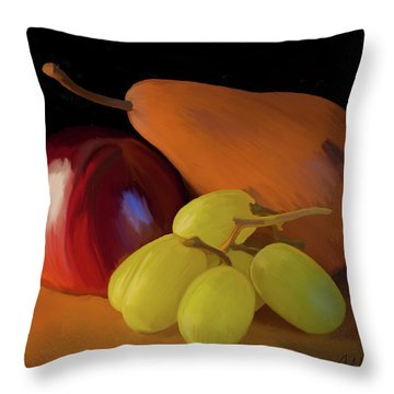 Grapes Plum And Pear 01 Throw Pillow by Wally Hampton