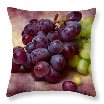 Throw Pillow featuring the photograph Grapes Red And Green by Alexander Senin