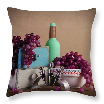 Grapes With Wine Stoppers Throw Pillow by Tom Mc Nemar