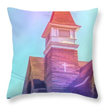 Throw Pillow featuring the photograph Graphic Rainbow Cathedral Cafe by Aimee L Maher Photography and Art Visit ALMGallerydotcom