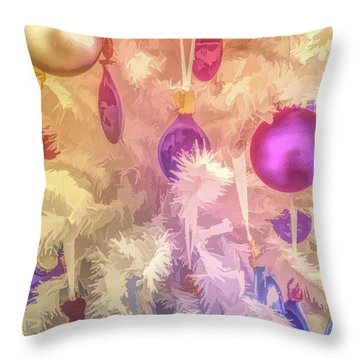 Throw Pillow featuring the photograph Graphic Rainbow Christmas Tree Ornaments by Aimee L Maher Photography and Art Visit ALMGallerydotcom