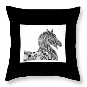 Throw Pillow featuring the painting Graphite Horse by Bob Coonts