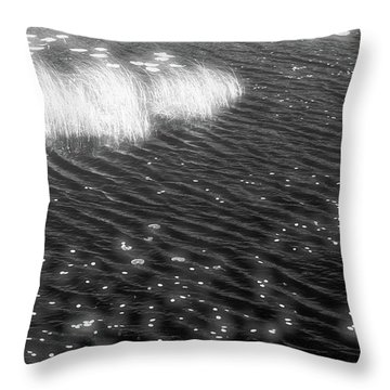 Grass And Water And Lilly Pads Bw2  Throw Pillow