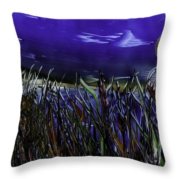 Grass By Water Throw Pillow