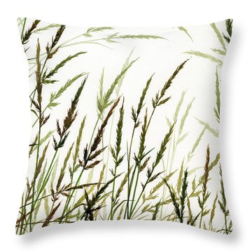 Throw Pillow featuring the painting Grass Design by James Williamson