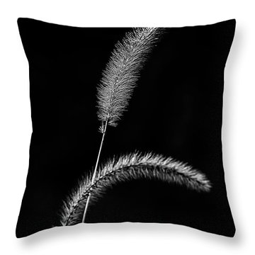 Grass In Black And White Throw Pillow