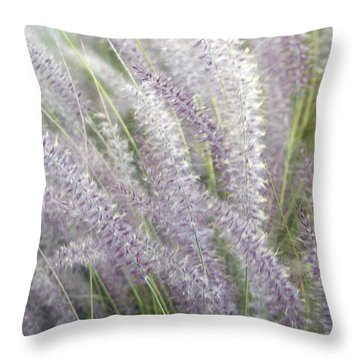 Throw Pillow featuring the photograph Grass Is More - Nature In Purple And Green by Ben and Raisa Gertsberg
