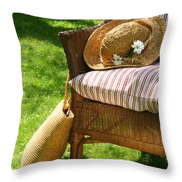 Grass Lawn With A Wicker Chair  Throw Pillow