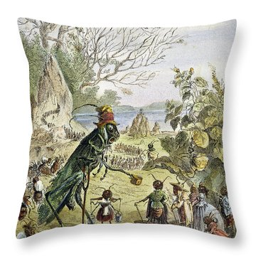 Grasshopper And Ant Throw Pillow by Granger
