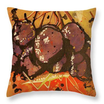 Throw Pillow featuring the painting Grasshopper by Cynthia Powell