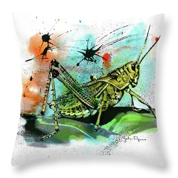 Throw Pillow featuring the drawing Grasshopper by John Dyess