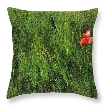 Grassland And Red Poppy Flower 2 Throw Pillow by Jean Bernard Roussilhe