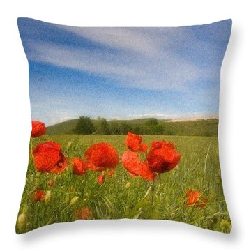 Throw Pillow featuring the photograph Grassland And Red Poppy Flowers by Jean Bernard Roussilhe