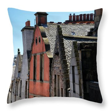 Throw Pillow featuring the photograph Grassmarket In Edinburgh, Scotland by Jeremy Lavender Photography
