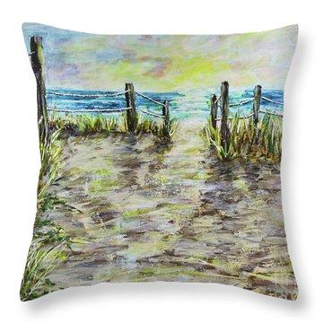 Grassy Beach Post Morning 2 Throw Pillow
