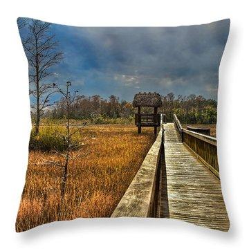 Grassy Glades Throw Pillow by Debra and Dave Vanderlaan