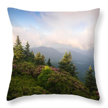 Grassy Ridge Rhododendron Bloom Throw Pillow