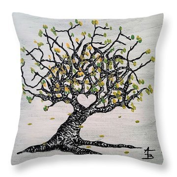 Throw Pillow featuring the drawing Grateful Love Tree by Aaron Bombalicki