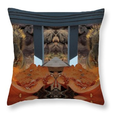 Grateful Squirrels Enjoying A Halloween Pumpkin Throw Pillow