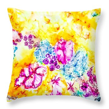 Throw Pillow featuring the painting Gratitude Blooms by Monique Faella
