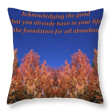 Gratitude Is The Foundation For Abundance Throw Pillow