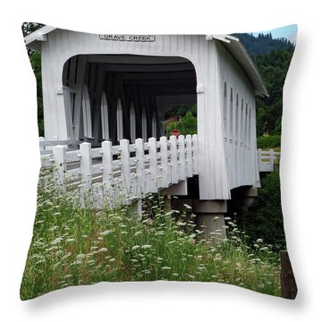 Grave Creek Bridge Throw Pillow by Methune Hively