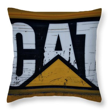 Gravel Pit Cat Signage Hydraulic Excavator Throw Pillow