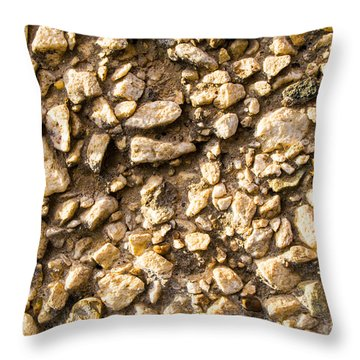 Gravel Stones On A Wall Throw Pillow