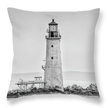 Graves Lighthouse- Boston, Ma - Black And White Throw Pillow