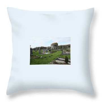 Throw Pillow featuring the photograph Graveyard Antigua Iglesia De Killinaboy Ireland by Marie Leslie