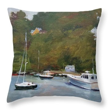 Gray Afternoon At Rockport Harbor Throw Pillow by Peter Salwen