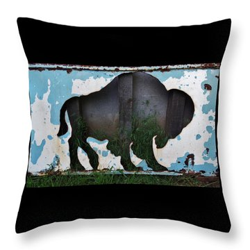 Throw Pillow featuring the photograph Gray Buffalo by Larry Campbell