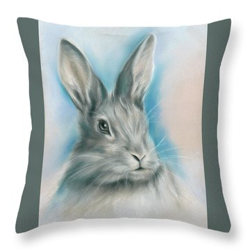 Gray Bunny Rabbit On Blue Throw Pillow