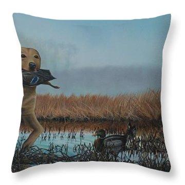 Gray Day Mallards Throw Pillow