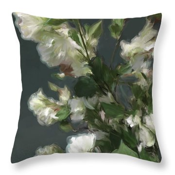 Gray Floral 09 Throw Pillow