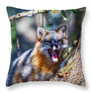 Gray Fox Awakens In The Tree Throw Pillow
