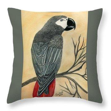 Gray Parrot Throw Pillow