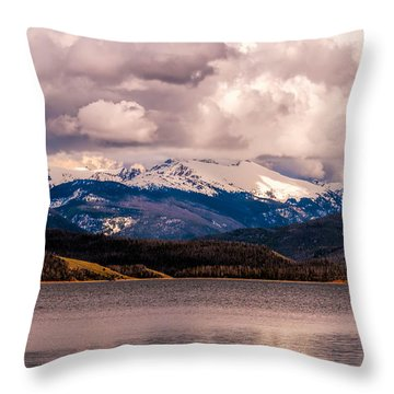 Gray Skies Over Lake Granby Throw Pillow