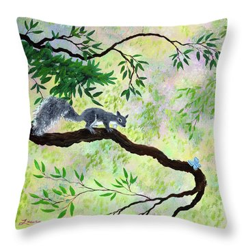 Gray Squirrel And Blue Butterfly Throw Pillow