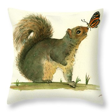 Gray Squirrel Butterfly Throw Pillow