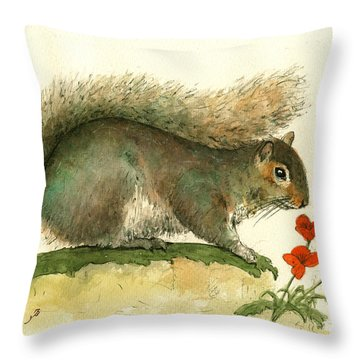 Gray Squirrel Flowers Throw Pillow