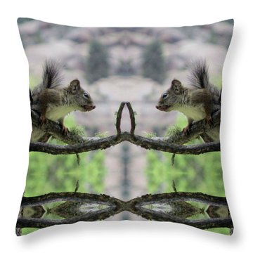 Gray Squirrel Soul Mates Throw Pillow